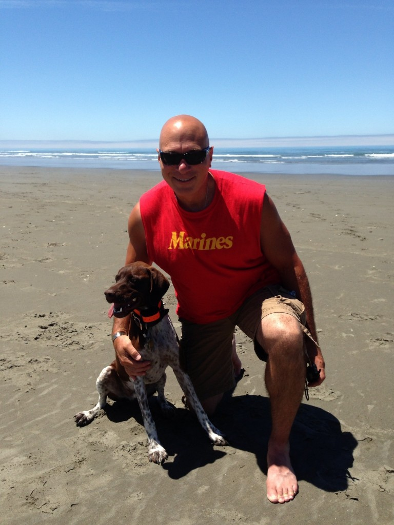 Rich and Harley on the beach in Trinidad, CA